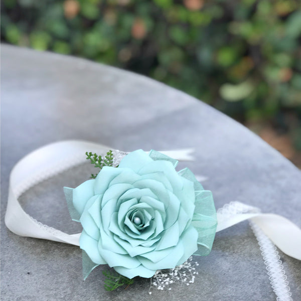 mint green paper rose corsage