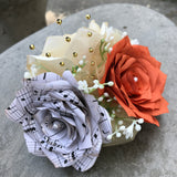 music note paper corsage in burnt orange