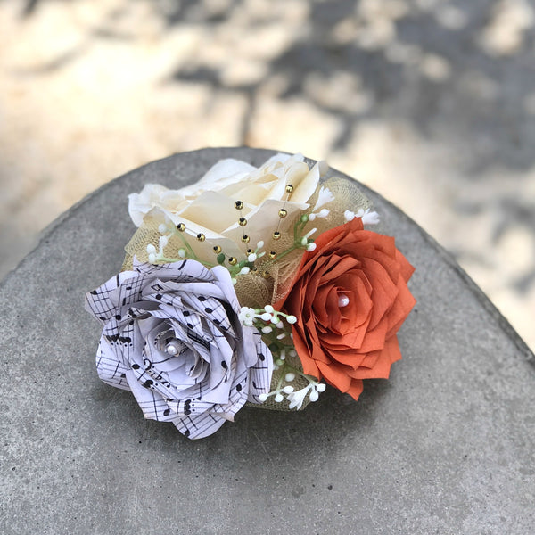 Corsage in burnt orange and ivory paper roses and music note rose corsage in burnt orange and ivory paper roses and music note rose colors are cusomizable mightylinksfo