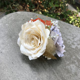 Corsage in Burnt Orange and ivory paper roses and Music Note Rose - Colors are Cusomizable