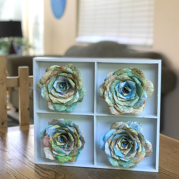 Map Flower Art - Home Decor 3D Handcrafted Paper Rose Art