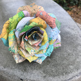 Map Paper Flower Made into A Colorful Rose