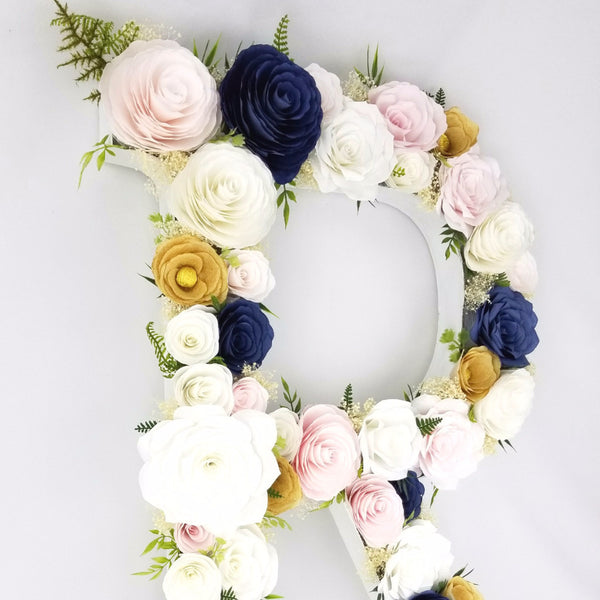 floral letter in blush, gold and navy blue