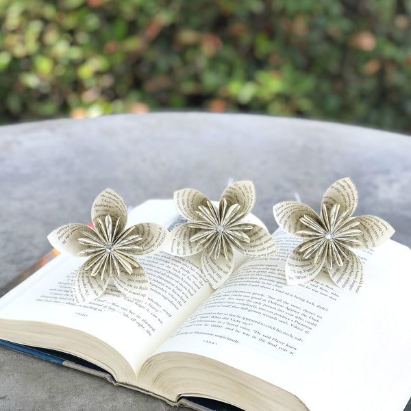 Set of 3 Origami Book Flowers