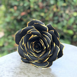 paper rose in black and gold tips