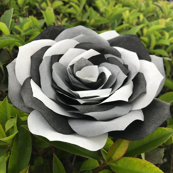 Coffee Filter Paper Rose with Black & White and Gray Petals
