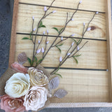 Rustic Floral Wall Decor in Rose Gold, Campagne and ivory
