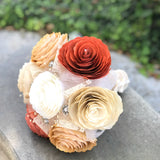 Burnt Orange, Gold, Champagne, and ivory paper flower bouquet