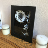 Shadow Box 3D Flower Art in Black and White Paper Anemone