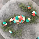 Table runner - Floral arch in coral and turquoise paper flowers - Arbor flower decor - Customizable colors