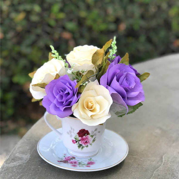 Floral Centerpiece in a Teacup - Paper Flower Table Decor
