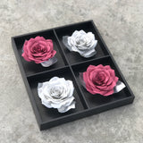 Burgundy And Silver 3D Paper Flower Wall Art
