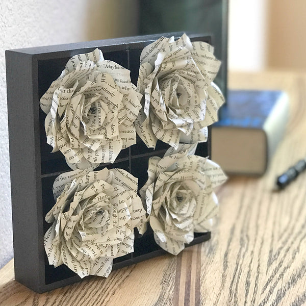 Book Page 3D Handcrafted Paper Flower Art for Wall Decor or Desk