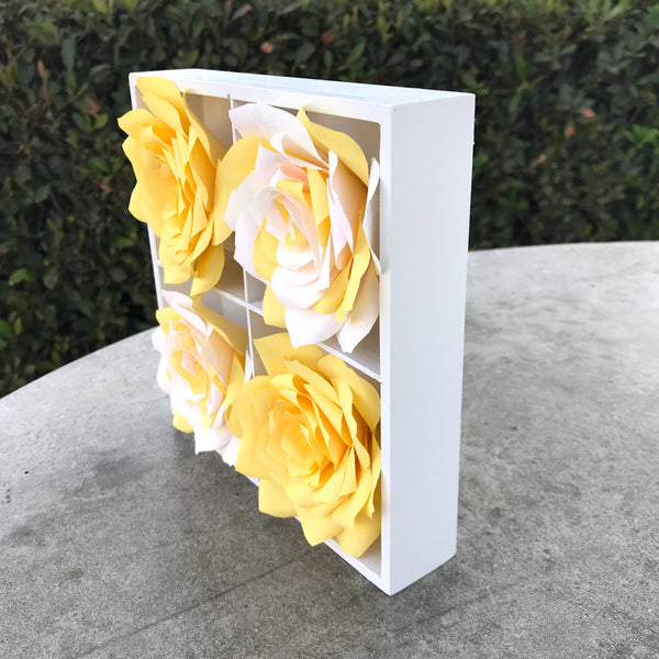 3d Paper Flower Art Yellow And White Girls Room Decor Centertwine