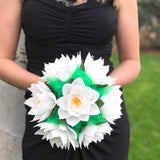 White and green water lily bouquet