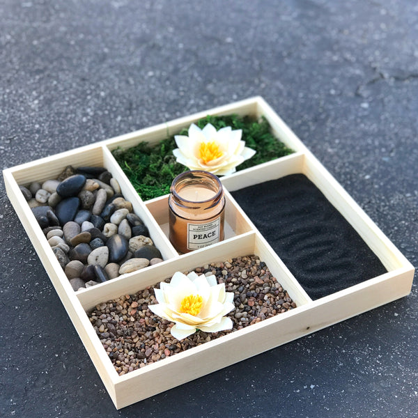 Relaxing indoor table garden - Indoor mini lotus & rock garden - Serenity garden