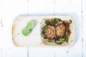 Thai Spiced Fish Cakes with Wilted Veg