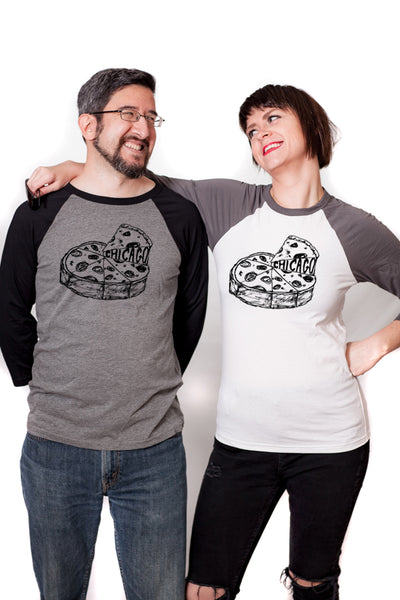 Chicago Pizza : unisex baseball tee - Megan Lee Designs