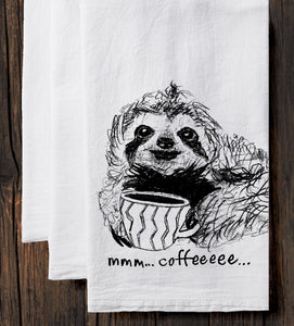 Coffee Sloth : tea towel
