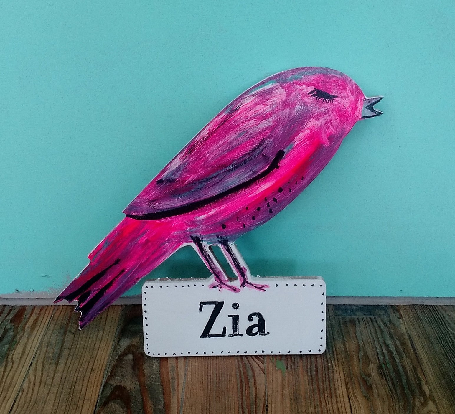 Wooden bird sign with custom name - Megan Lee Designs