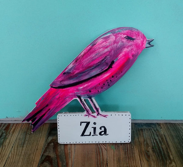 Wooden bird sign with custom name