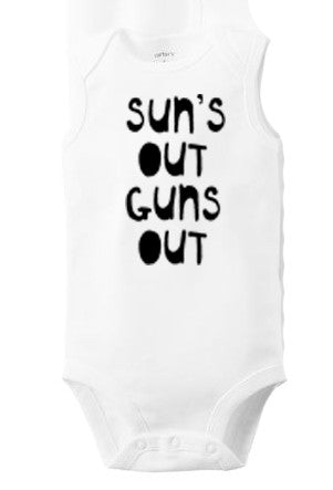 Suns Out Guns Out : bodysuit (white, sleeveless), Baby Apparel - Megan Lee Designs