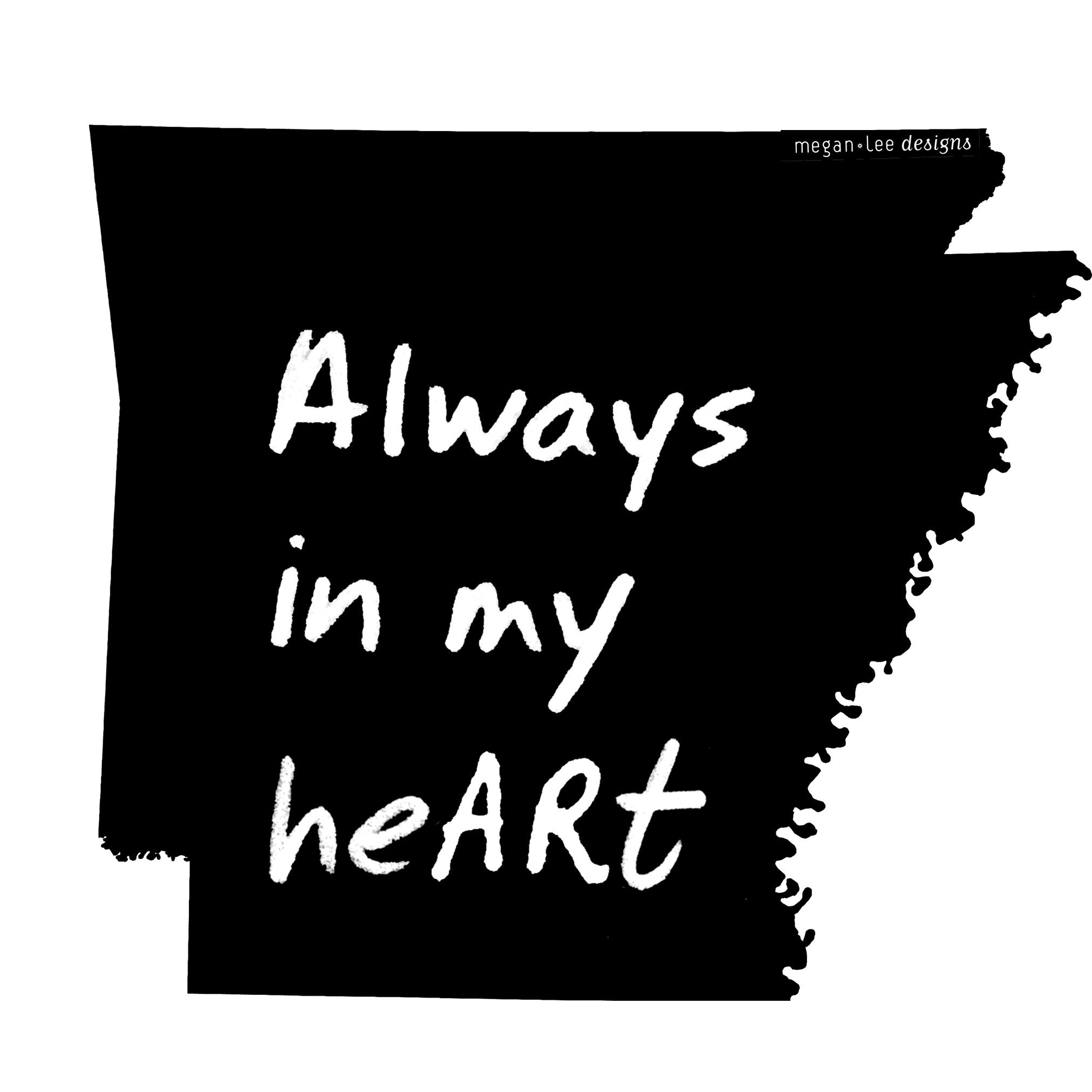 Arkansas : Always in my heARt bodysuit (white), Baby Apparel - Megan Lee Designs