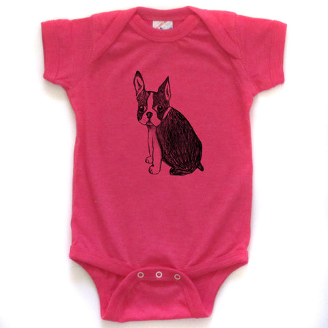 Boston Terrier : bodysuit (colored), Baby Apparel - Megan Lee Designs
