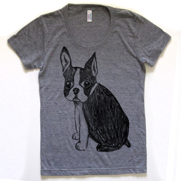 Boston Terrier : women tri-blend tee, Women's Apparel - Megan Lee Designs