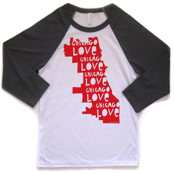 Chicago Love : unisex baseball tee, Unisex Apparel - Megan Lee Designs