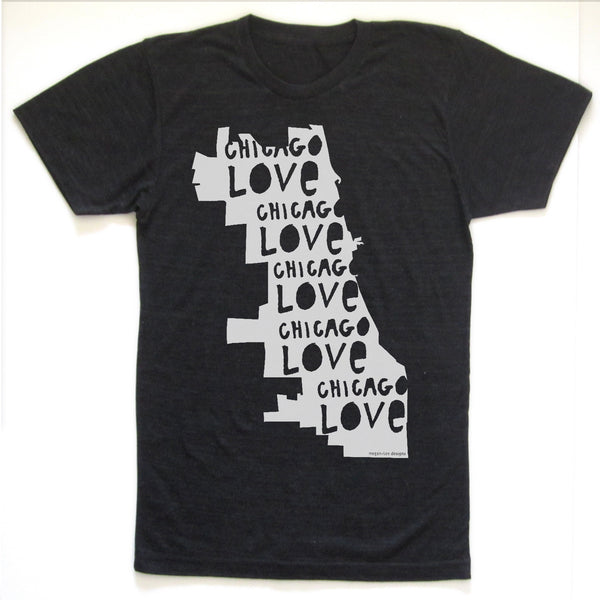Chicago Love : unisex tri-blend tee, Unisex Apparel - Megan Lee Designs