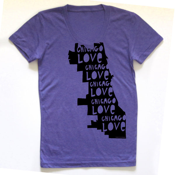 Chicago Love : women tri-blend tee, Women's Apparel - Megan Lee Designs