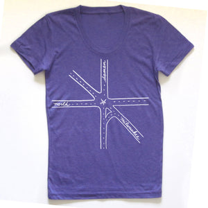 Crotch : Damen/Milwaukee/North Intersection women tri-blend tee, Women's Apparel - Megan Lee Designs