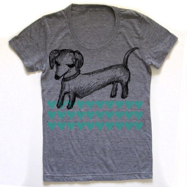 Dachshund : women tri-blend tee, Women's Apparel - Megan Lee Designs