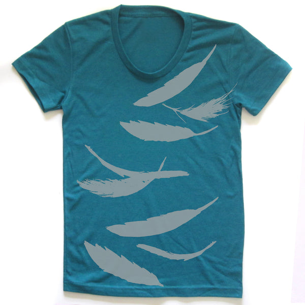 Falling feathers : women tri-blend tee, Women's Apparel - Megan Lee Designs