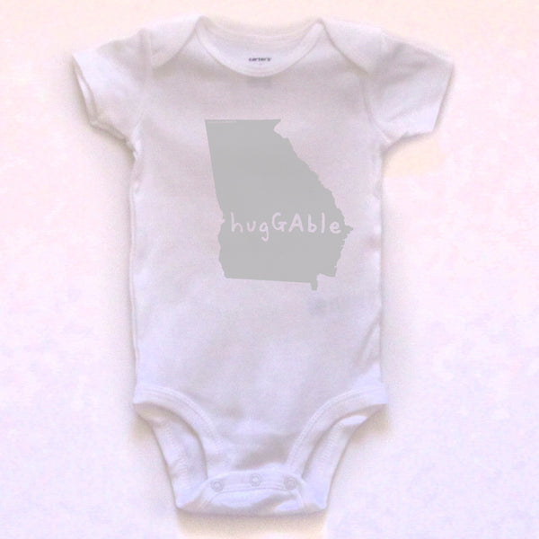 Georgia : hugGAble bodysuit (white), Baby Apparel - Megan Lee Designs
