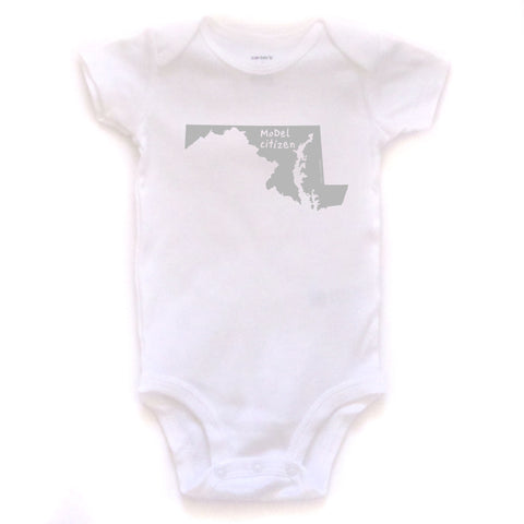 Maryland : MoDel citizen bodysuit (white), Baby Apparel - Megan Lee Designs