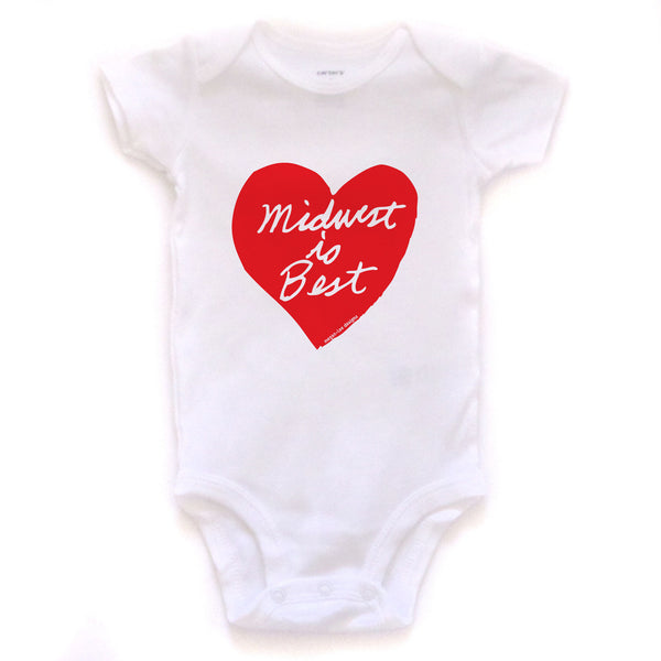 Midwest is Best : bodysuit (white), Baby Apparel - Megan Lee Designs