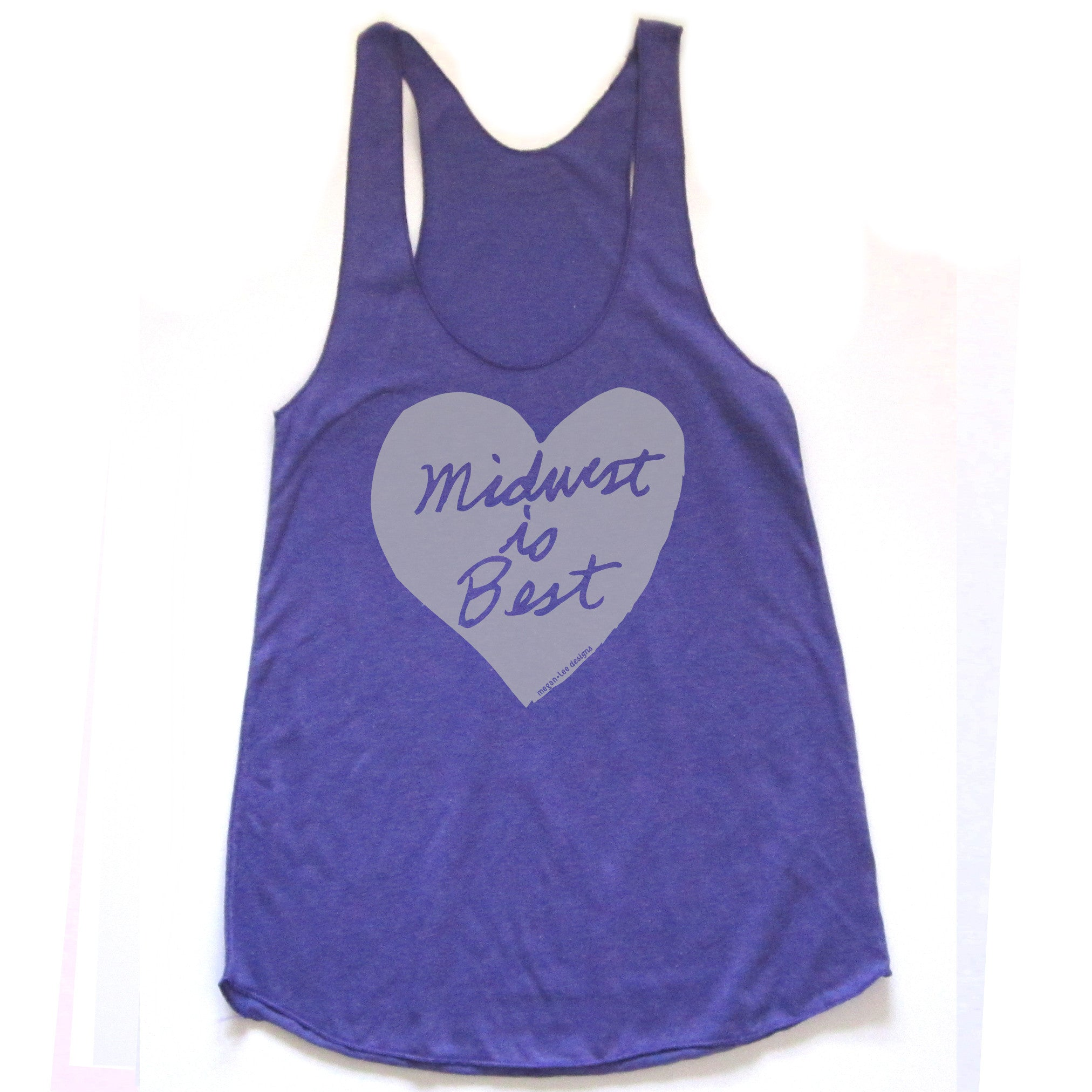Midwest is Best : women racerback tri-blend tank, Women's Apparel - Megan Lee Designs