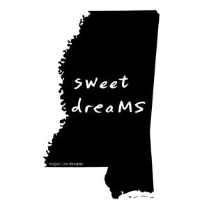Mississippi : sweet dreaMS unisex tri-blend tee, Unisex Apparel - Megan Lee Designs