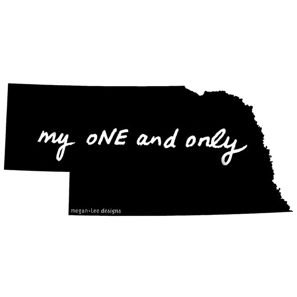 Nebraska : my oNE and only bodysuit (white), Baby Apparel - Megan Lee Designs