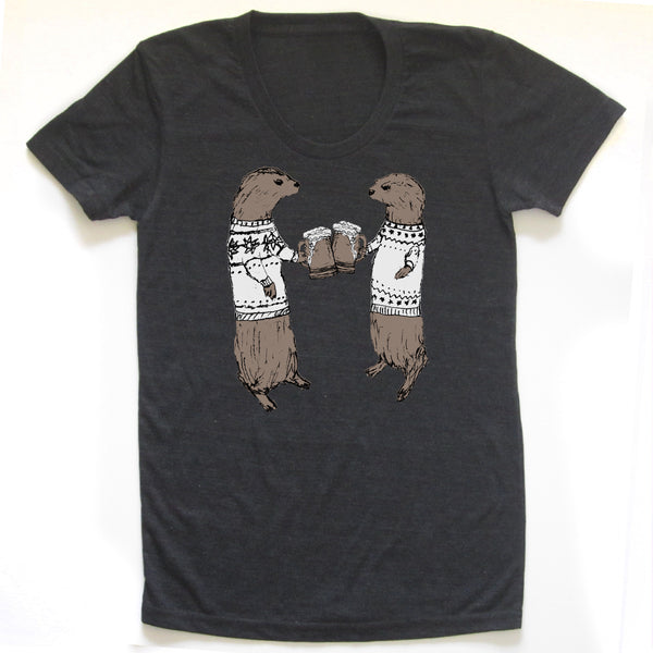 Otters : women tri-blend tee, Women's Apparel - Megan Lee Designs