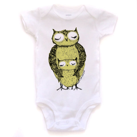 Owls : bodysuit (white), Baby Apparel - Megan Lee Designs
