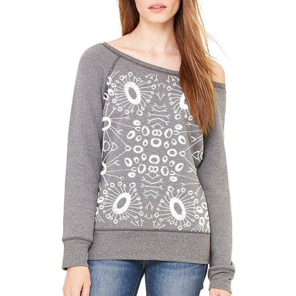 Radial Dot : Women's Wide-neck Sweatshirt, Women's Apparel - Megan Lee Designs
