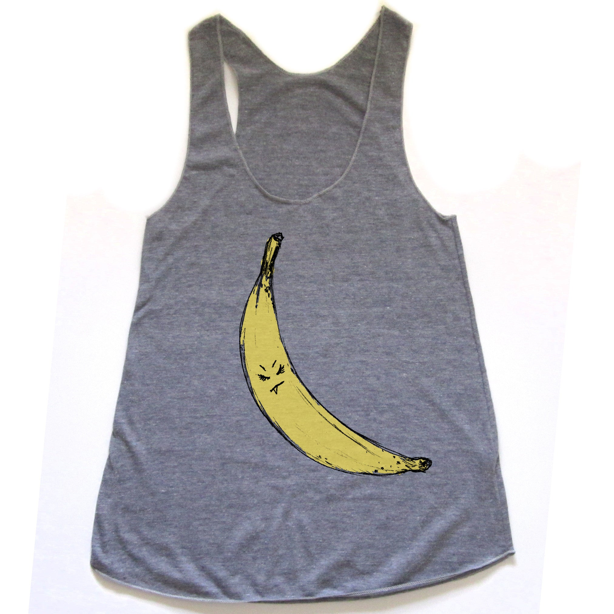 Snaggletooth Banana : women racerback tri-blend tank, Women's Apparel - Megan Lee Designs