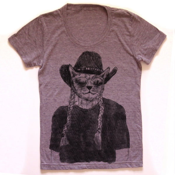 Willie Cat : women tri-blend tee, Women's Apparel - Megan Lee Designs