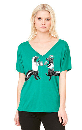Skunks : women's flowy V-neck T, Unisex Apparel - Megan Lee Designs