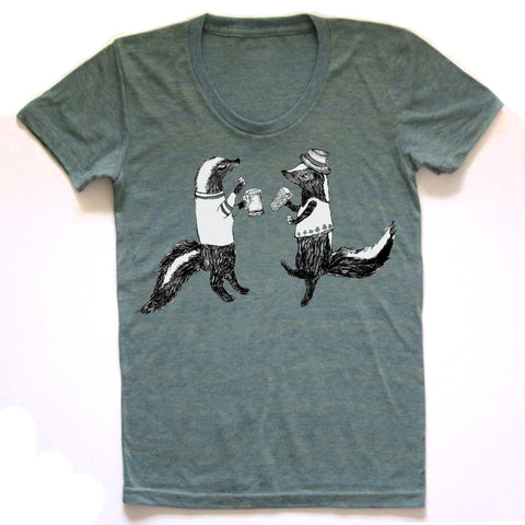 Skunks : women tri-blend tee, Women's Apparel - Megan Lee Designs