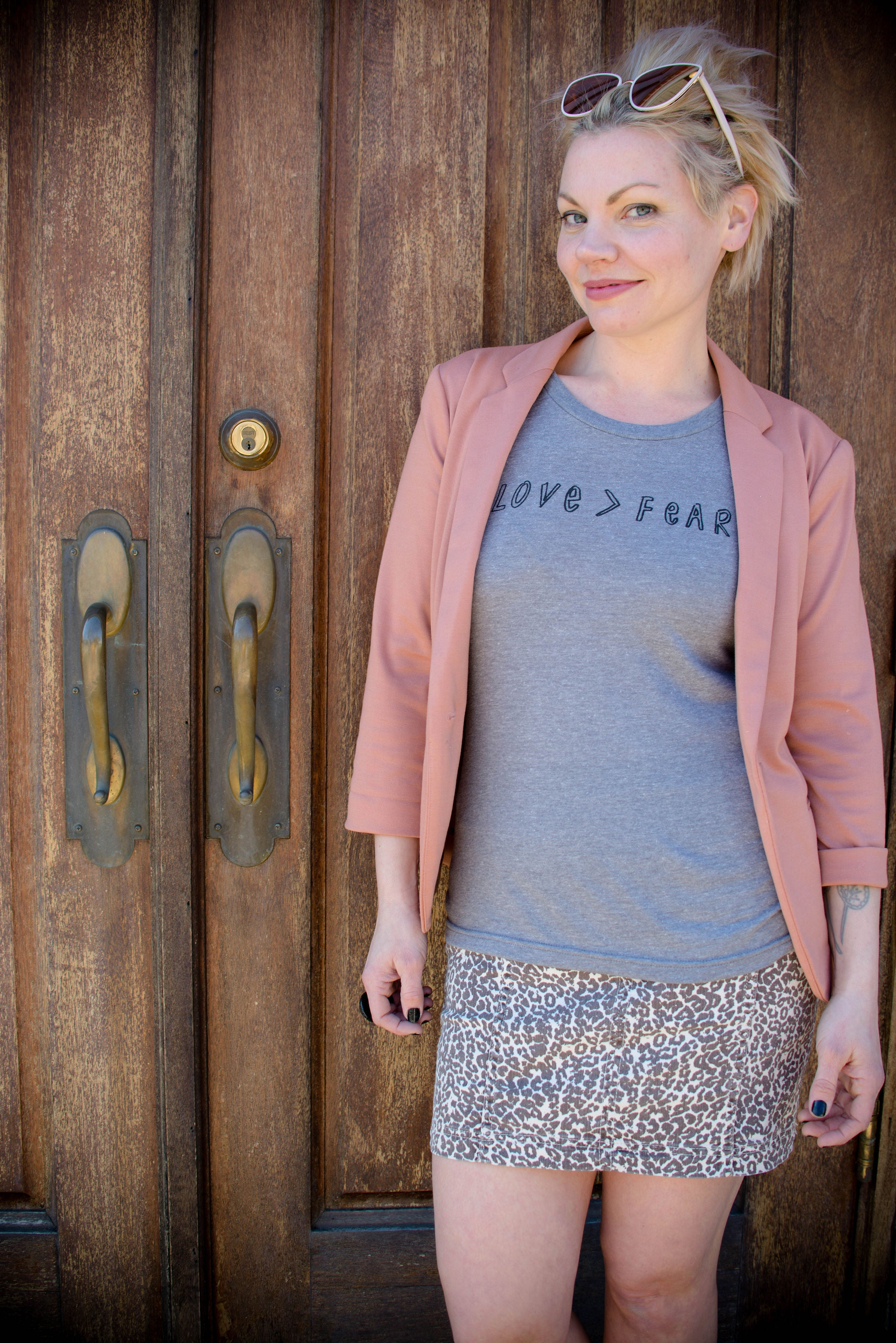 Love > Fear : women's tri-blend tee