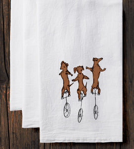 Uni-Dachshunds : tea towel